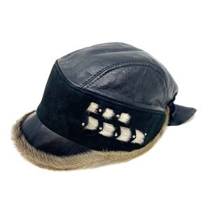 Vintage Black Leather & Fur Trim Biker Moto Hat